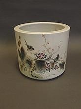 A large Chinese pottery brush pot with painted