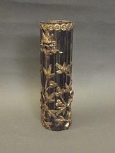 A Chinese bamboo brush pot with applied floral