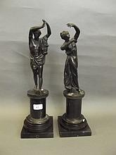 A pair of 19th Century bronze figures after the