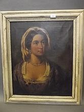 H.F. Crighton, a C19th oil on canvas, portrait of a woman wearing a jewelled headdress, signed and dated 1867, with letter of provenance dated 1926, image 23¼'' x 19''