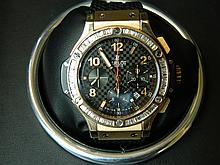 An 18ct gold and diamond set Hublot 'Big Bang' gentleman's wristwatch, boxed with certificate