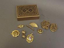 Six items of Damascan jewellery to include a pill box, buckle, brooches and earrings