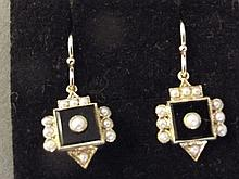 A pair of 9ct gold square shaped onyx and pearl set earrings