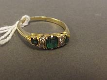 A Victorian 18ct gold, emerald and diamond set ring