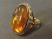 A large 9ct gold oval Baltic amber ring, size O