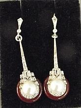 A pair of 9ct gold silver, agate and pearl set