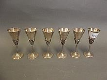 A set of 6 Russian silver goblets, maker 'OEC',
