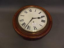 A 19th Century oak cased circular wall clock, 16