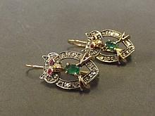 A pair of 9ct gold, ruby, emerald and diamond