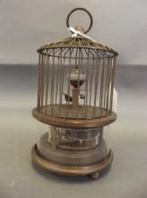 A brass bird and birdcage automaton clock, 6¼'' high