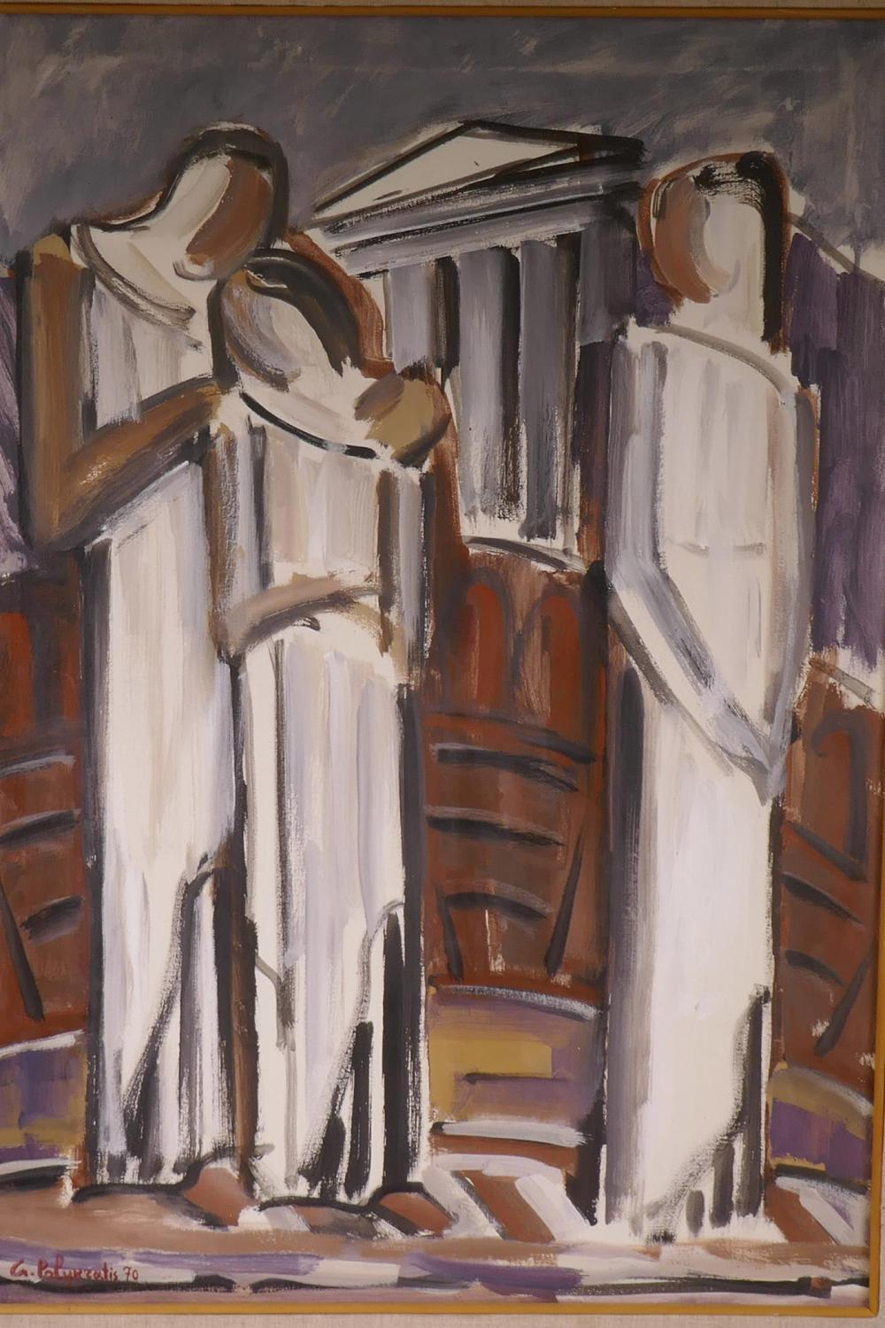 Lot 860: Giorgio Polykratis, three figures, signed and dated 1970, label  verso Contemporarte Gallerie Firenze, oil on canvas, 19