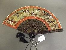 An early 20th Century Oriental lacquered fan with