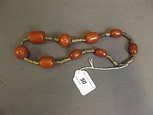 A string of Chinese horn beads, 19