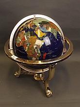 A lapis lazuli terrestrial globe inlaid with