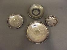 A Hallmarked silver ashtray set with a Churchill
