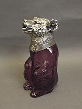 A silver plate and purple coloured glass claret