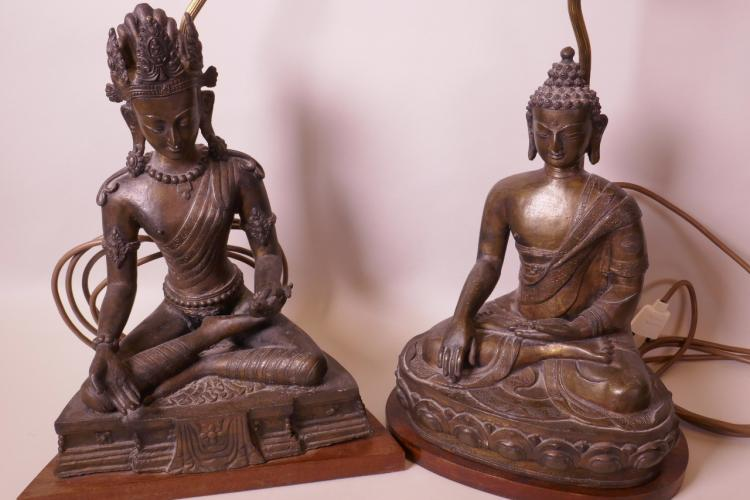 A BRONZE TABLE LAMP, THE BASE CAST AS BUDDHA SEATED IN MEDITATION (FIGURINE 12