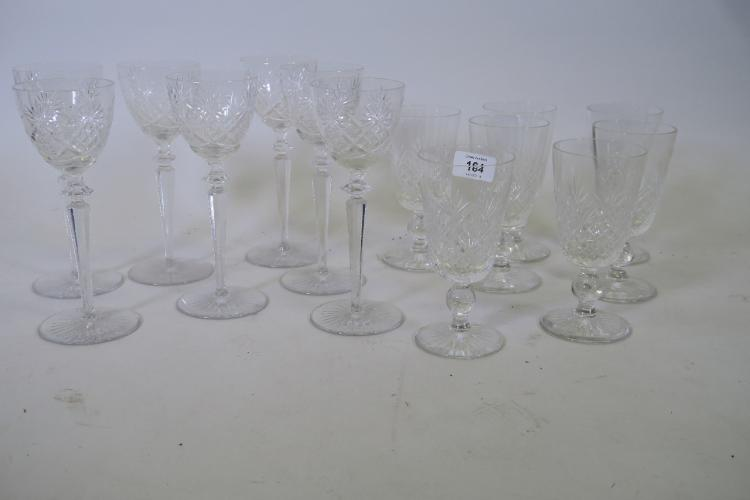 SEVEN STUART CUT WINE GLASSES AND SEVEN CUT GLASS STEM DRINKING GLASSES