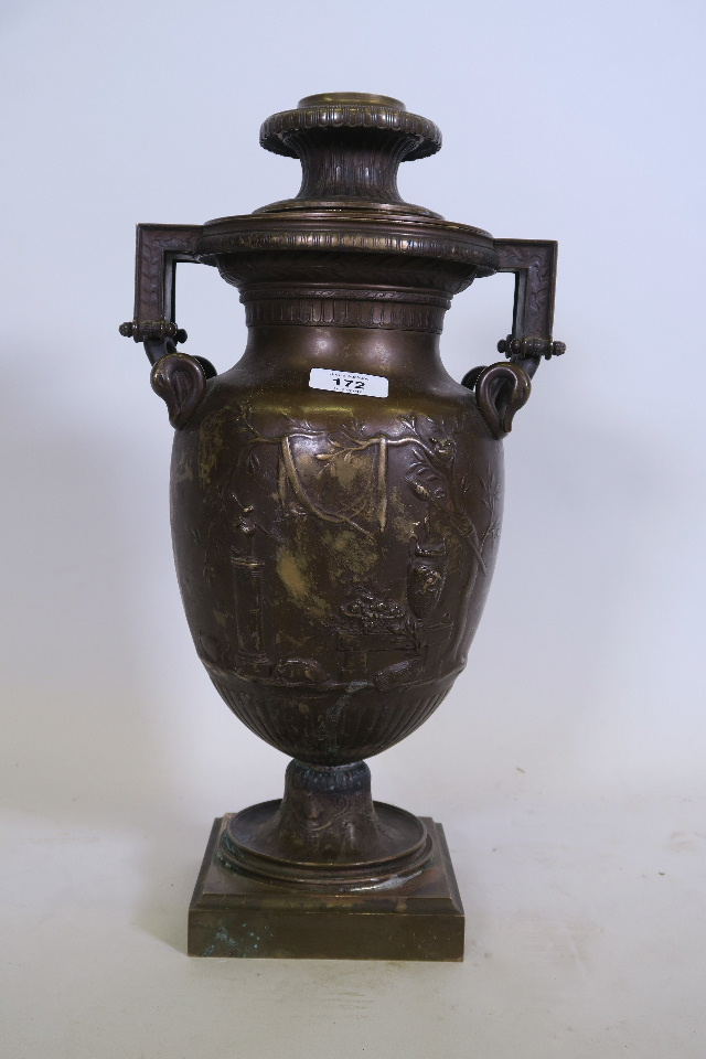 A PATINATED BRONZE LAMP BASE, OF CLASSICAL FORM, WITH RAISED DECORATION, STAMPED F. BARBEDIENNE, 17