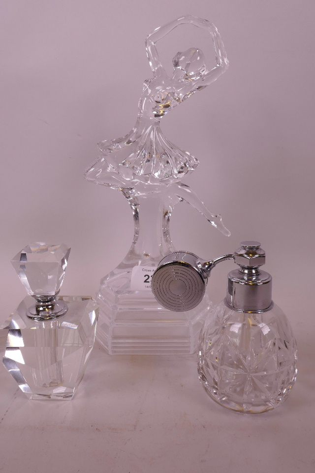 TWO CUT GLASS PERFUME ATOMISERS WITH CHROME PLATED COLLARS TOGETHER WITH A GLASS FIGURINE OF A BALLET DANCER (3)