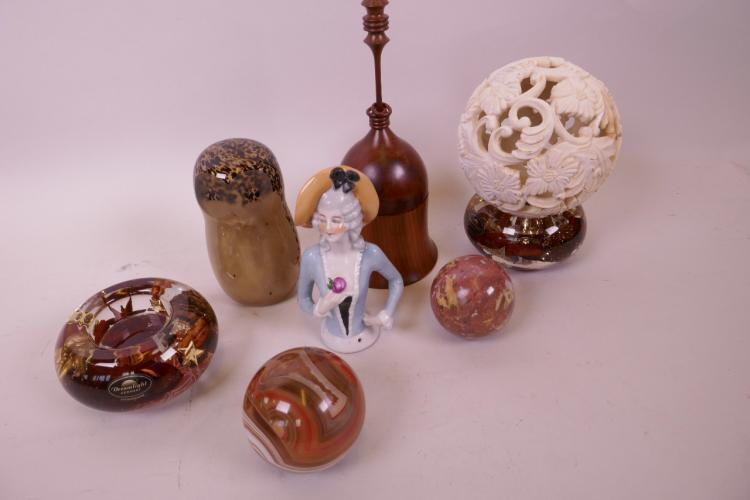 A WEDGWOOD GLASS OWL PAPERWEIGHT, TWO POLISHED AGATE BALLS, A TURNED YEW WOOD TRINKET BOX, A PIN CUSHION DOLL ETC (4)