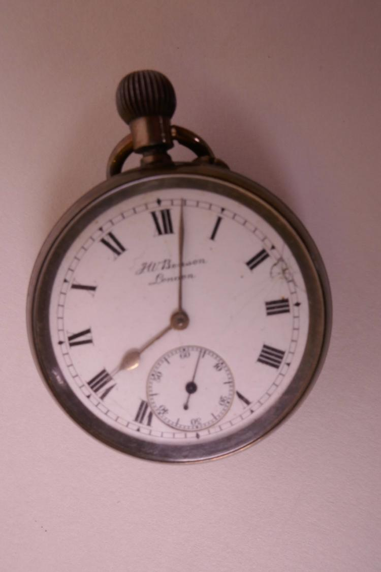 A HALLMARKED SILVER CASED TOP WIND OPEN FACE POCKET WATCH WITH SECONDARY SECOND DIAL AND ROMAN NUMERALS BY J W BENSON, LONDON 1918