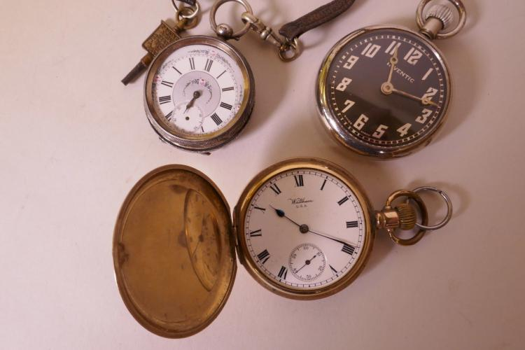 A WALTHAM ROLLED GOLD CASED TOP WIND HUNTER POCKET WATCH TOGETHER WITH A HALLMARKED SILVER KEY WIND FOB WATCH AND AN INVENTIC POCKET WATCH (ALL A/F)
