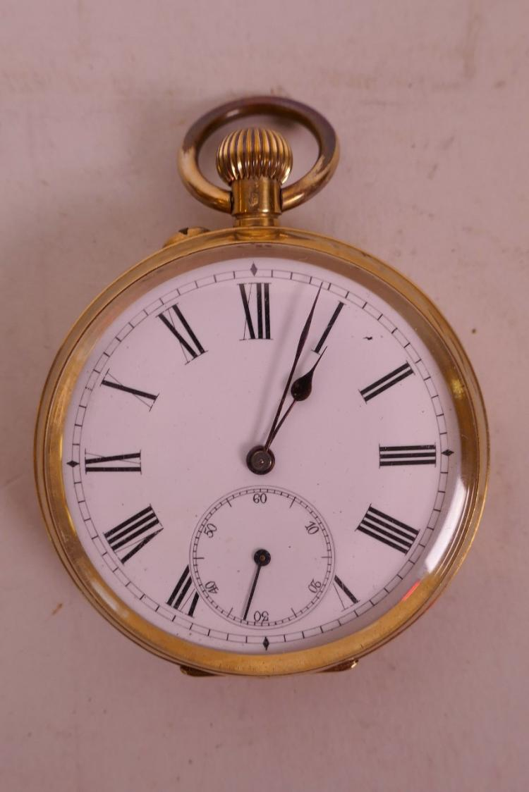 A LATE C19TH/EARLY C20TH GOLD CASED POCKET WATCH WITH AN ENAMELLED DIAL AND ROMAN NUMERALS, ENGRAVED CK TO THE BACK, 2