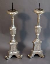 Italian Silver Leaf Candlesticks
