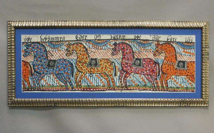 Swedish Folk Art Painting with Four Horses