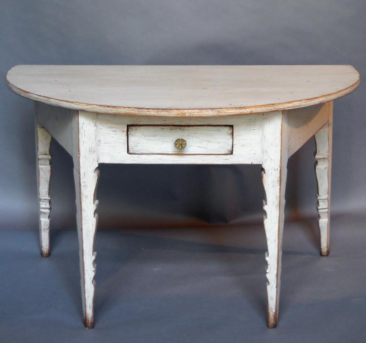 Swedish Demi-lune Console with Single Drawer