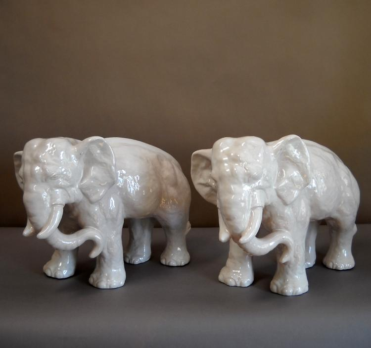 Pair of Danish Stoneware Elephants