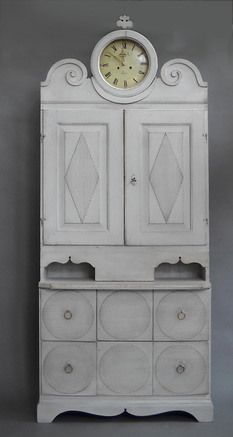Period Gustavian Clock Cabinet