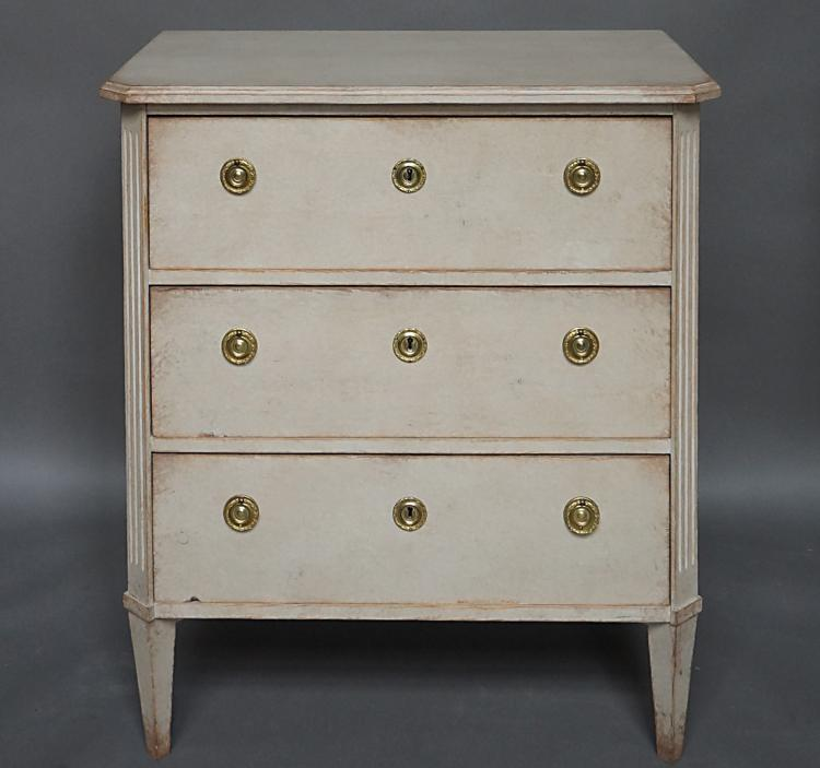 Gustavian Style Three Drawer Chest