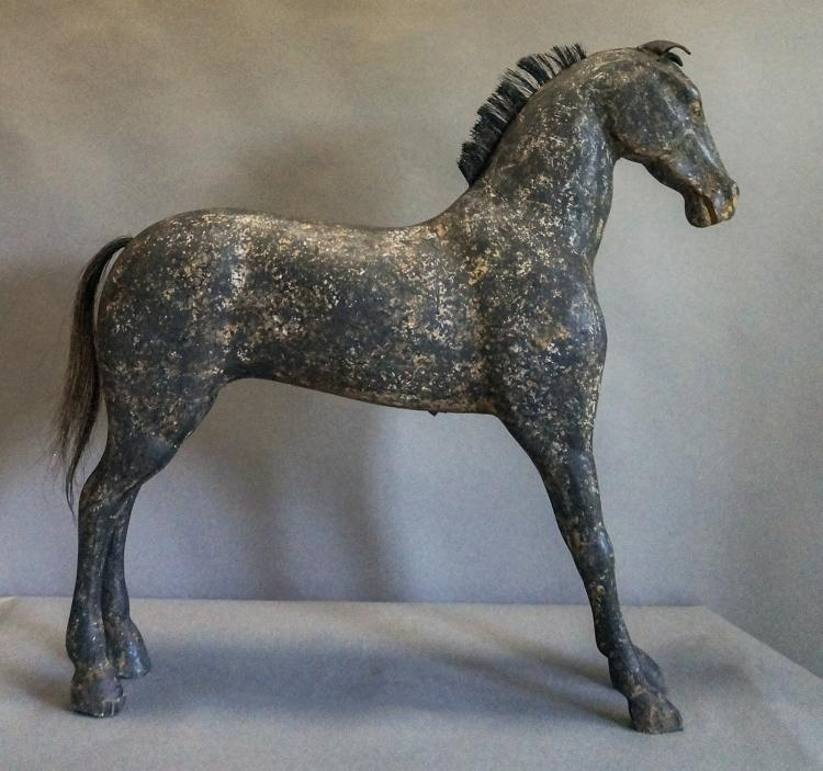 Carved Swedish Horse in Black Paint