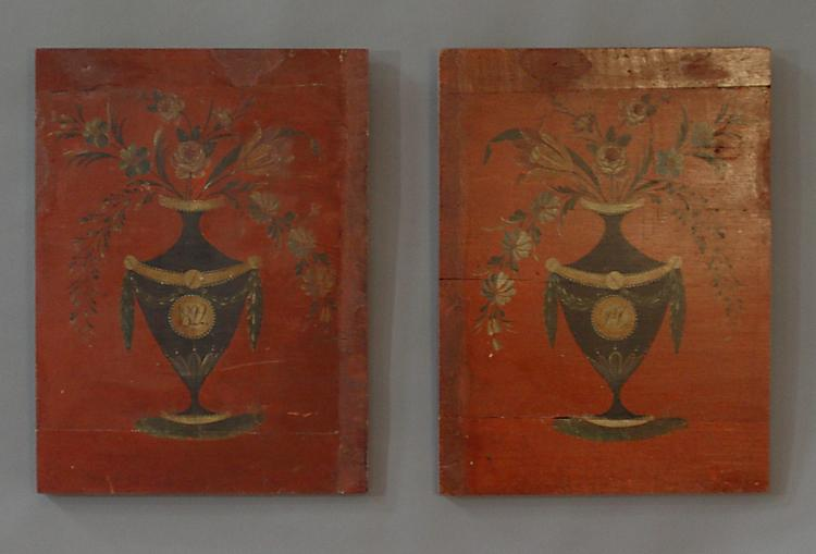 Pair of Paint Decorated Panels from Sweden