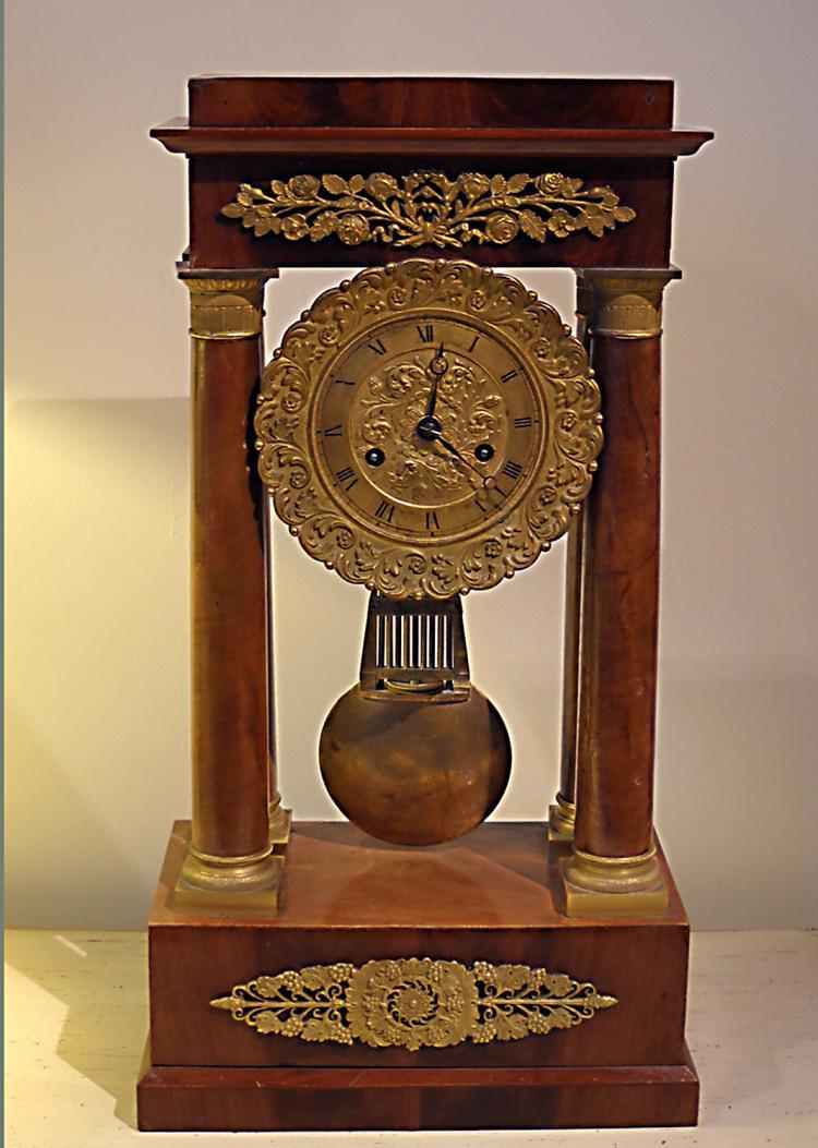 French Charles X Mahogany Mantel Clock