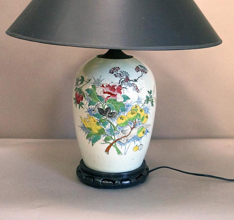 Qing Dynasty Famille Verte Ginger Jar Converted to Lamp