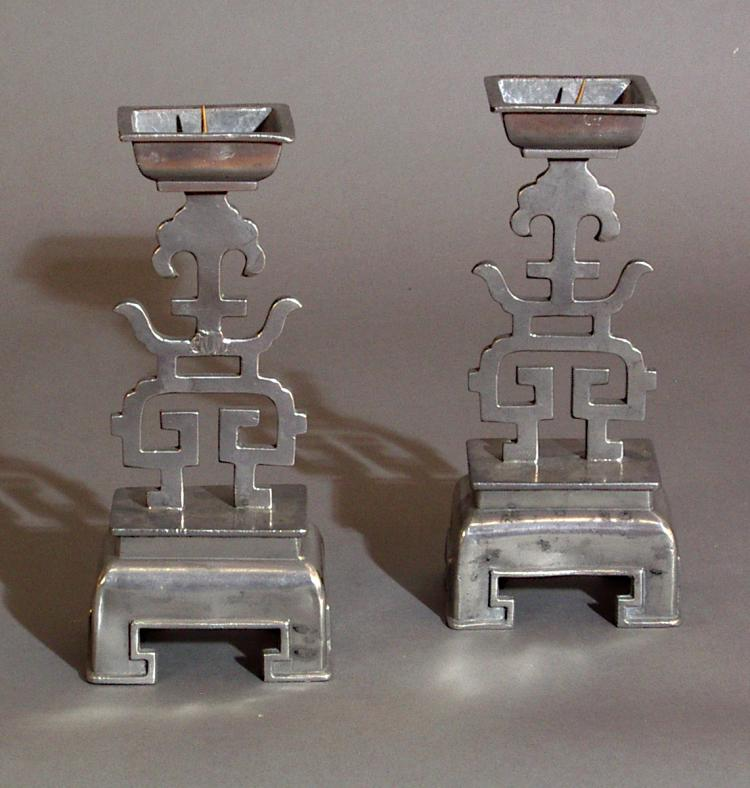 Pair of Chinese Pewter Candlesticks