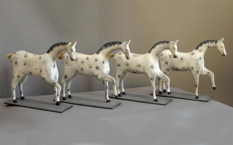 Set of Four Hand-Carved Toy Horses from Sweden
