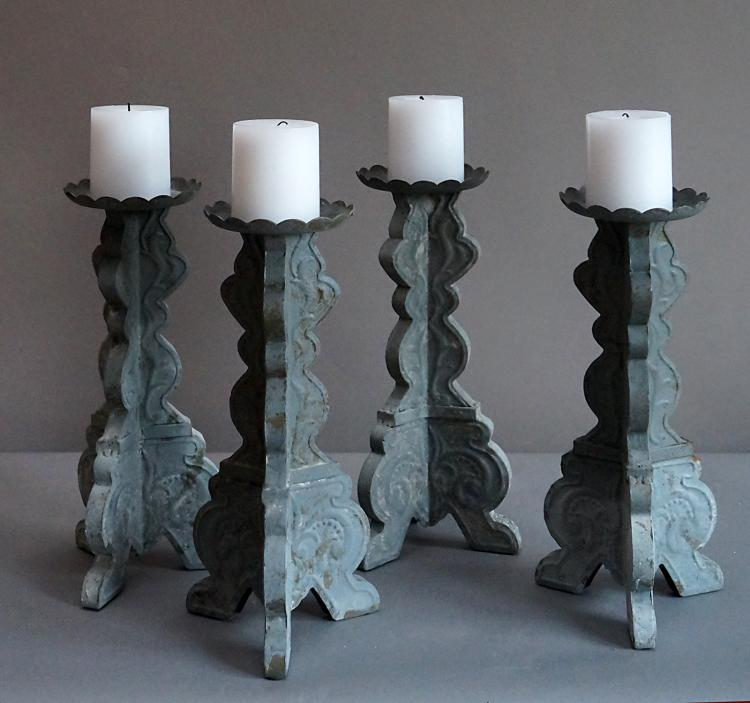 Set of Four Hand-Hammered Tin Candlesticks, Sweden