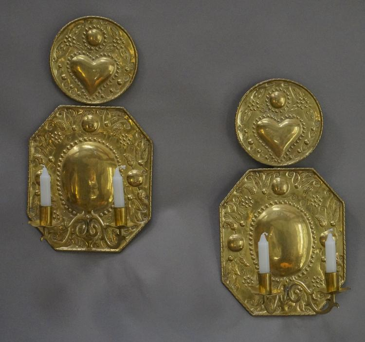 Pair of Hand-Hammered Brass Sconces from Sweden
