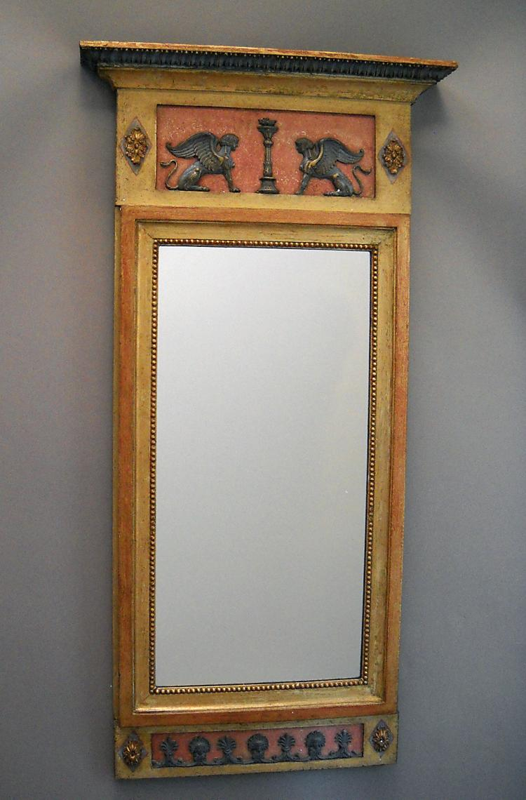 Neoclassical Swedish Mirror in Pompeii Red