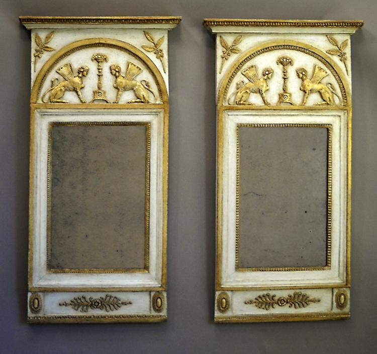 Pair of Neoclassical Mirrors with Original Mercury Glass