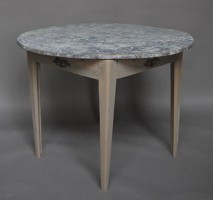 Pair of Demi-lune Tables with Marbled Tops