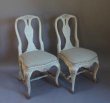 Pair of Swedish Rococo Style Chairs