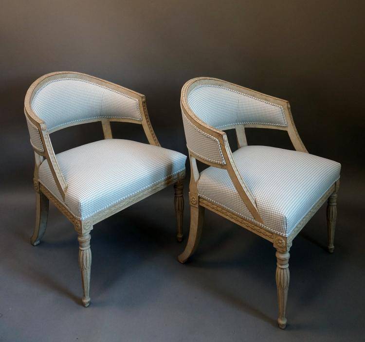 Pair of Swedish Barrel Back Armchairs
