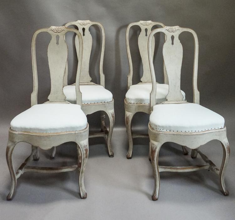 Set of Four Rococo Style Dining Chairs