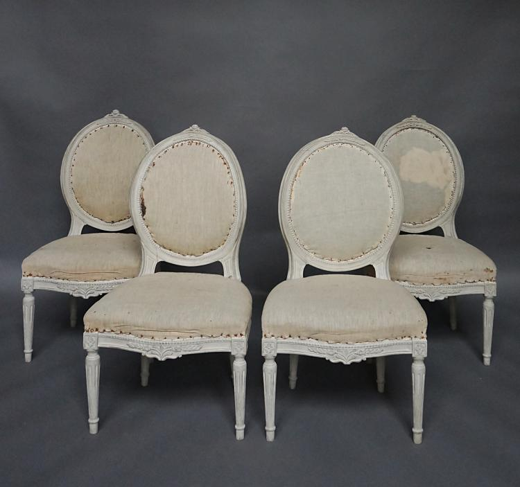 Set of Four Gustavian Style Side Chairs