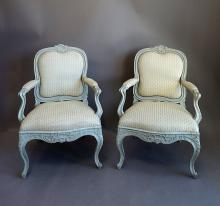 Pair of Rococo Style Swedish Armchairs